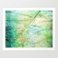 Green Painted Leaf Art Print