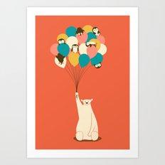 Penguin Bouquet Art Print