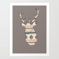 Fairisle Deer Art Print