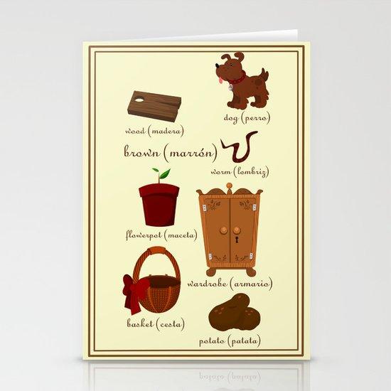 Colors: brown (Los colores: marrón) Stationery Card