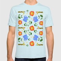 Happy Animals Mens Fitted Tee Light Blue SMALL