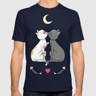 Kawaii Cats In Love Mens Fitted Tee Navy SMALL