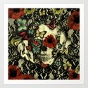 Vintage Gothic Lace Skull Art Print