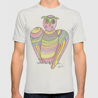 Owl Hand Drawing Mens Fitted Tee Silver SMALL