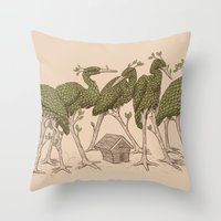 Bird Forest Throw Pillow