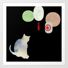 Japanese Cats Series - Paper Lanterns Art Print