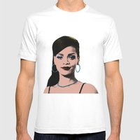 Rihanna Pop Art Mens Fitted Tee White SMALL