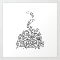 Pile of Rabbits Art Print