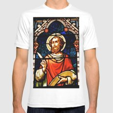 Saintly Glass White SMALL Mens Fitted Tee
