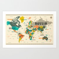 world map Art Prints featuring WORLD MAP by Jazzberry Blue
