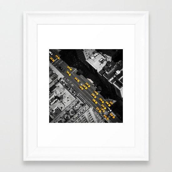 New York City, Yellow Cabs | B/W  Framed Art Print