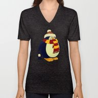 Unisex V-Neck featuring Penguin.Now In Color! by Mangulica