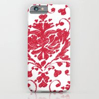 iPhone & iPod Case featuring giving hearts giving hope: red damask by Vy La