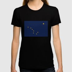 Alaskan State Flag - Aut… Womens Fitted Tee Black SMALL