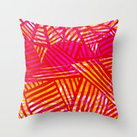 Painted and digital pink and orange pattern Throw Pillow