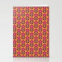 Retro bloom purple 5 Stationery Cards