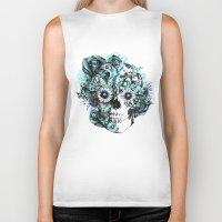 Blue Grunge Ohm Skull Biker Tank