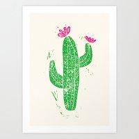 Linocut Cacti #2 Art Print