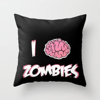 I Brain (Love) Zombies Throw Pillow
