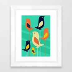 Mid Century Birds Framed Art Print