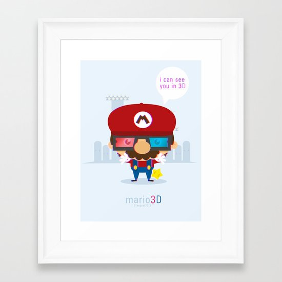 mario 3d Framed Art Print