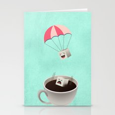 Sugar Cubes Jumping in a Cup of Coffee  Stationery Cards