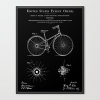 Bicycle Patent - Black Canvas Print