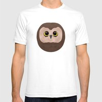 Chubby Little Owl Mens Fitted Tee White SMALL