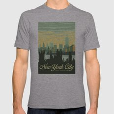 NYC Skyline Mens Fitted Tee Athletic Grey SMALL