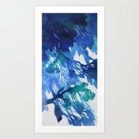 Morning Blossoms 2 - Blu… Art Print
