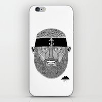 The One Armed Sushi Chef (Bearded Man Wearing Anchor Headband) iPhone & iPod Skin