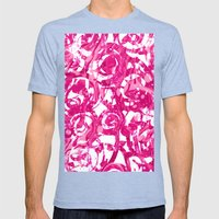Abstract Pink Floral Mens Fitted Tee Tri-Blue SMALL