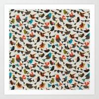 just birds china white Art Print