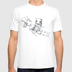 CATSOUP White Mens Fitted Tee SMALL