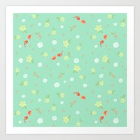 Floral with Birds on aqua Art Print