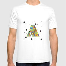 Letter A SMALL Mens Fitted Tee White