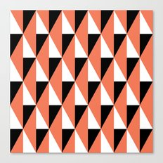 Salmon & black triangle mid-century pattern Canvas Print