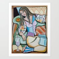 Woman Book and Drink Art Print