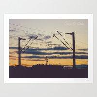 Sunset under construction Art Print