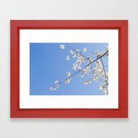 Sky Gazing, Nature Photography, Blossom Print, Blue Wall Art, Minimalist Spring Blossoms Framed Art Print