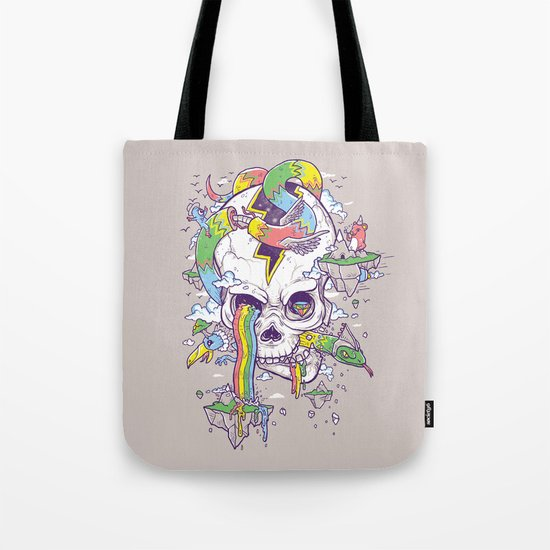 Flying Rainbow skull Island Tote Bag