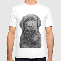 Labrador Puppy Mens Fitted Tee White SMALL