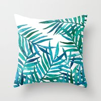 Watercolor Palm Leaves O… Throw Pillow