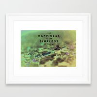 Find Happiness In the simplest Things Framed Art Print