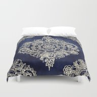 Duvet Cover featuring Cream Floral Moroccan Pa… by Micklyn