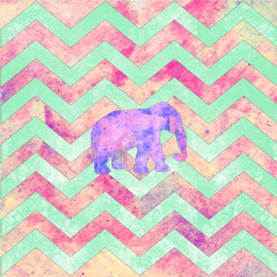 Whimsical Purple Elephant Mint Green Pink Chevron Art Print
