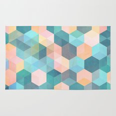 Child's Play 2 - hexagon pattern in soft blue, pink, peach & aqua Rug