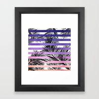 Watercolor summer sunset ombre stripes tropical palm tree Framed Art Print