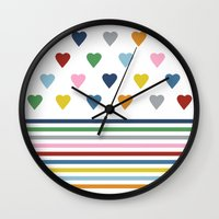 Hearts Stripes Wall Clock