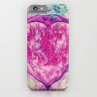 iPhone & iPod Case featuring Sacred Ground Nebula Heart Shape Abstract Energy Fractal Art  by Virtualkee